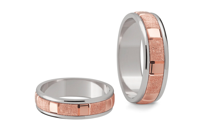 Snubní prstýnky dvoubarevné šířka 5 mm STOB180R