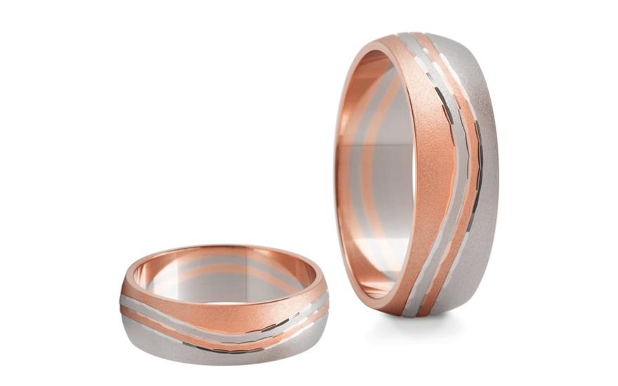 Snubní prstýnky dvoubarevné šířka 6 mm STOB117R