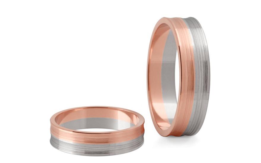 Snubní prstýnky dvoubarevné šířka 6 mm STOB170R