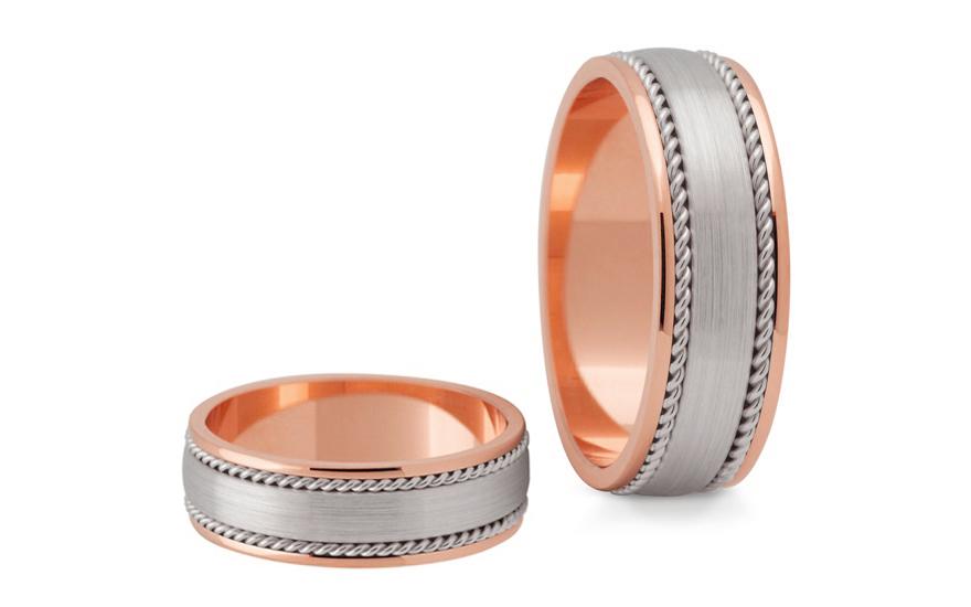 Snubní prstýnky dvoubarevné šířka 6 mm STOB182R