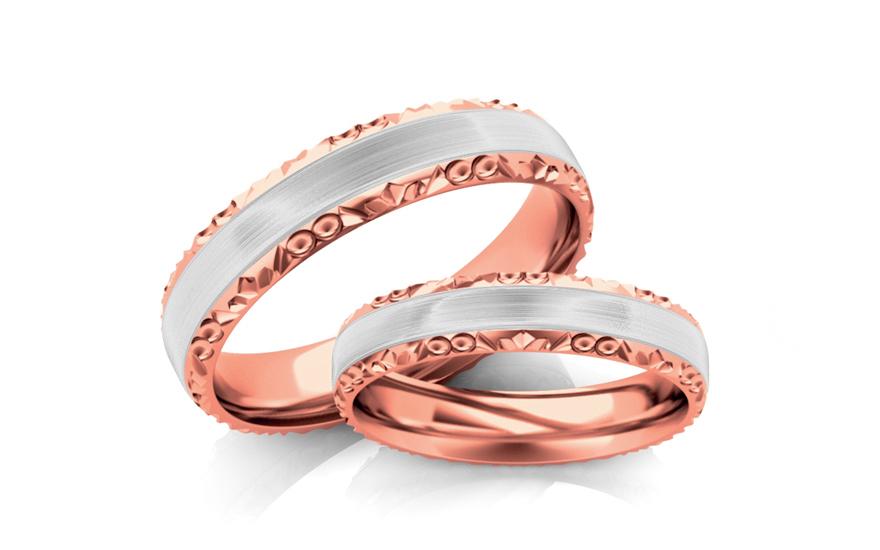 Snubní prstýnky dvoubarevné zlato šířka 3 mm STOB099-3R