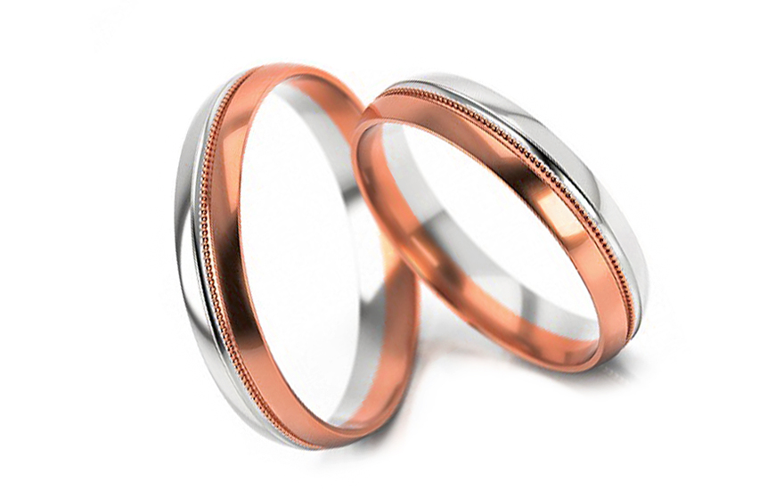 Snubní prstýnky dvoubarevné zlato šířka 4 mm STOB253R