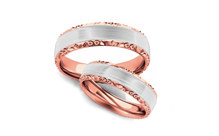 Snubní prstýnky dvoubarevné zlato šířka 4 mm STOB099-4R