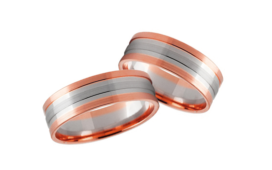Snubní prstýnky dvoubarevné zlato šířka 5 mm STOB231R