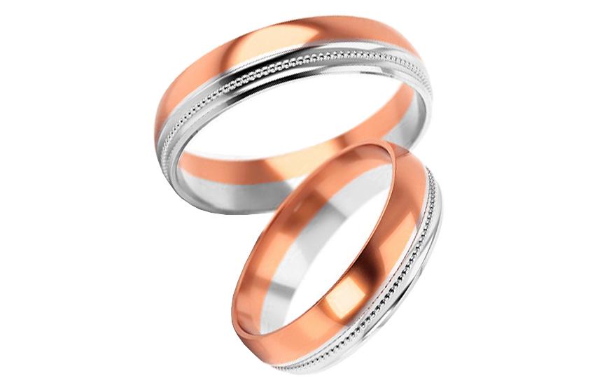 Snubní prstýnky dvoubarevné zlato šířka 5 mm STOB254R