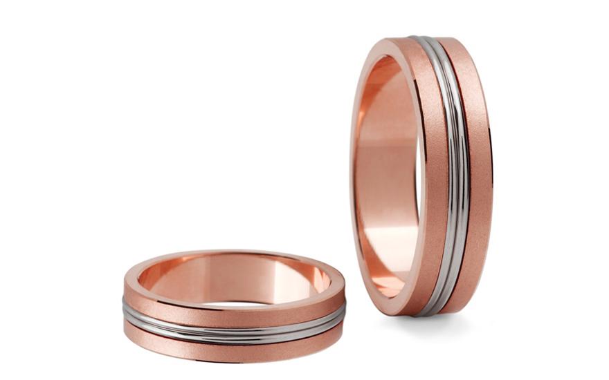 Snubní prstýnky dvoubarevné zlato šířka 5 mm STOB148R