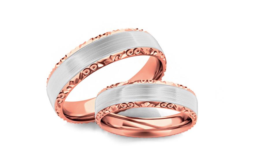 Snubní prstýnky dvoubarevné zlato šířka 5 mm STOB099-5R