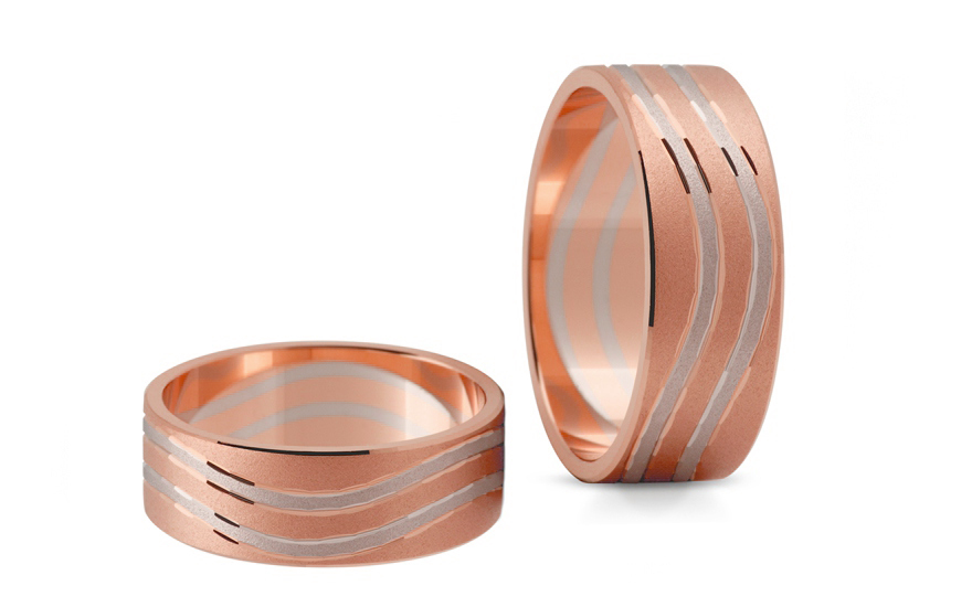 Snubní prstýnky dvoubarevné zlato šířka 6,5 mm STOB153R