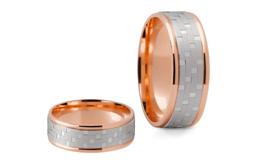 Snubní prstýnky dvoubarevné zlato šířka 6,5 mm STOB165R