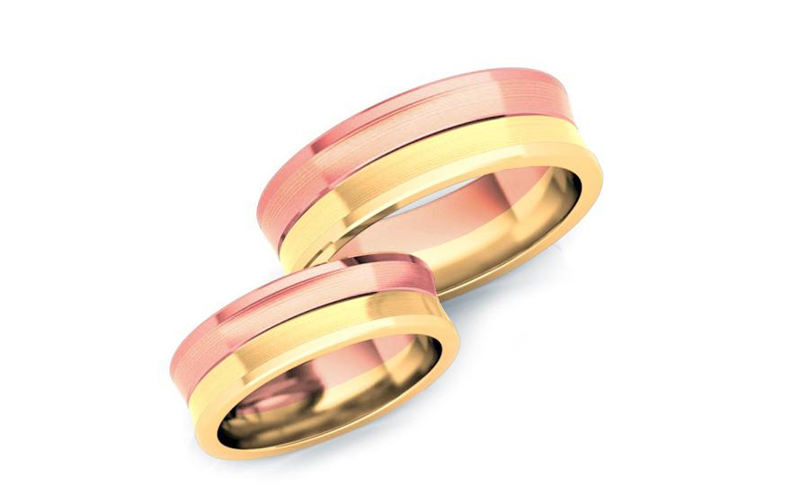 Snubní prstýnky dvoubarevné zlato šířka 6 mm STOB169YR