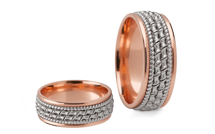 Snubní prstýnky dvoubarevné zlato šířka 7 mm STOB145R