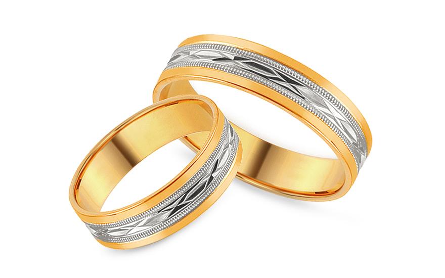 Snubní prstýnky kombinované s gravírovaným vzorem, šířka 5 mm IZOB113WY
