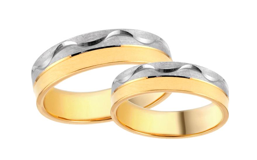 Snubní prstýnky kombinované s vlnovkovým gravírováním šířka 5 mm IZOB481