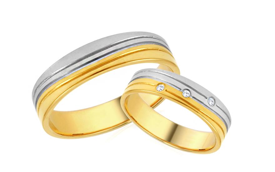 Snubní prstýnky kombinované se zirkony šířka 5 mm IZOB645