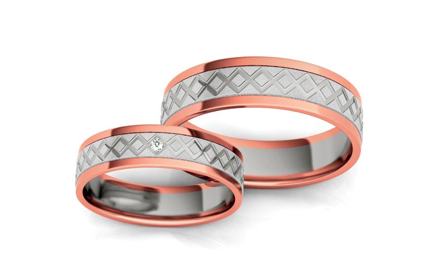 Snubní prstýnky s diamantem 0,010 ct šířka 5 mm STOBR228R