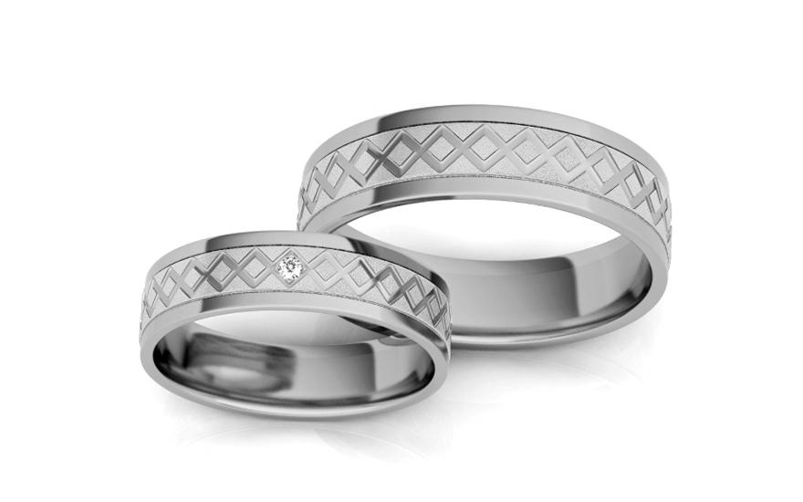 Snubní prstýnky s diamantem 0,010 ct šířka 5 mm STOBR228A