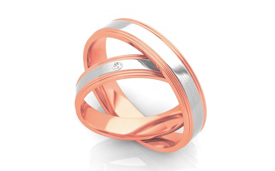 Snubní prstýnky s diamantem 0,015 ct šířka 4 mm STOBR294R