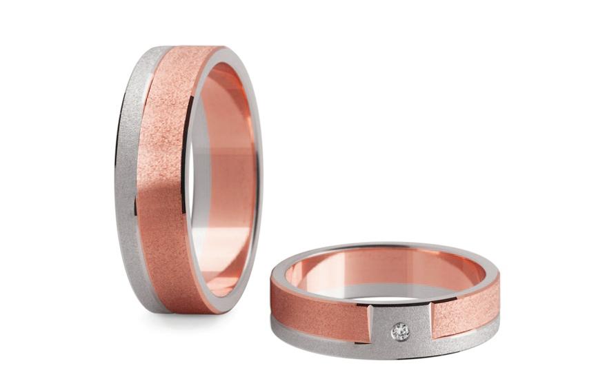 Snubní prsteny s diamantem 0,020 ct šířka 5 mm STOBR006-5R