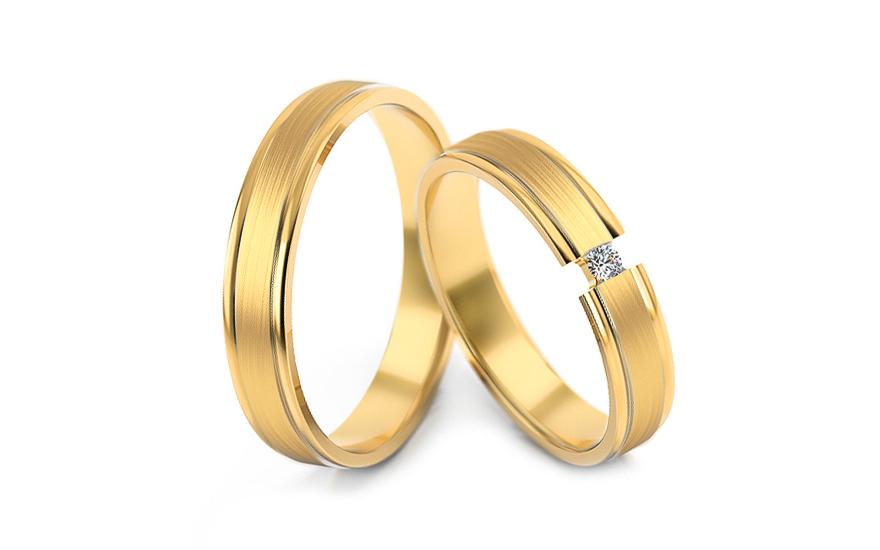Snubní prstýnky s diamantem 0,030 ct šířka 4 mm STOBR266Y
