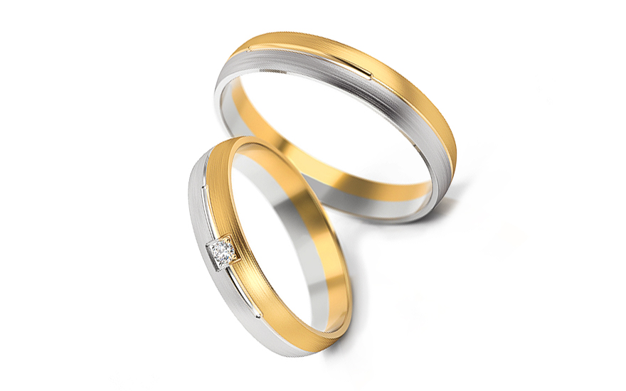 Snubní prstýnky s diamantem 0,020 ct šířka 4 mm STOBR236