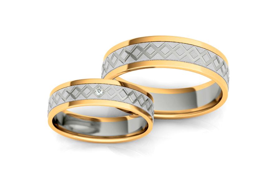 Snubní prstýnky s diamantem 0,010 ct šířka 5 mm STOBR228