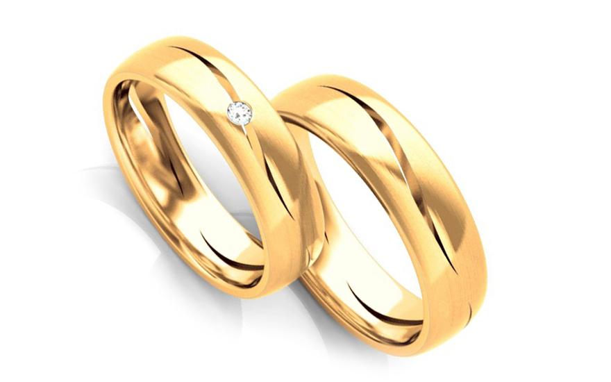 Snubní prstýnky s diamantem 0,020 ct šířka 5 mm STOBR258