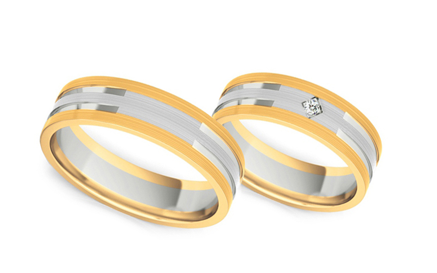 Snubní prstýnky s diamantem 0,020 ct šířka 5 mm STOBR233