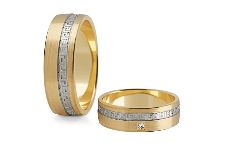 Snubní prstýnky s diamantem 0,015 ct šířka 6 mm STOBR203