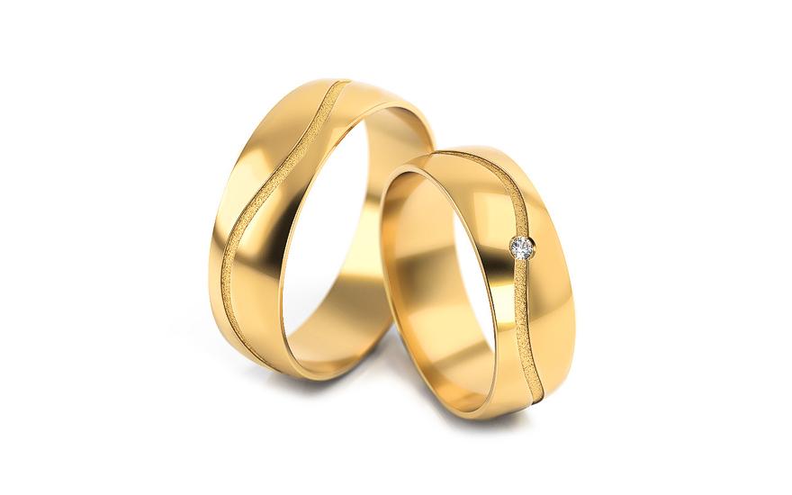 Snubní prstýnky s diamantem 0,015 ct šířka 6 mm STOBR286