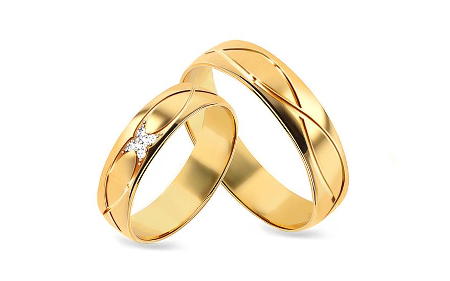 Snubní prstýnky s diamanty 0,060 ct šířka 5 mm STOBR278Y