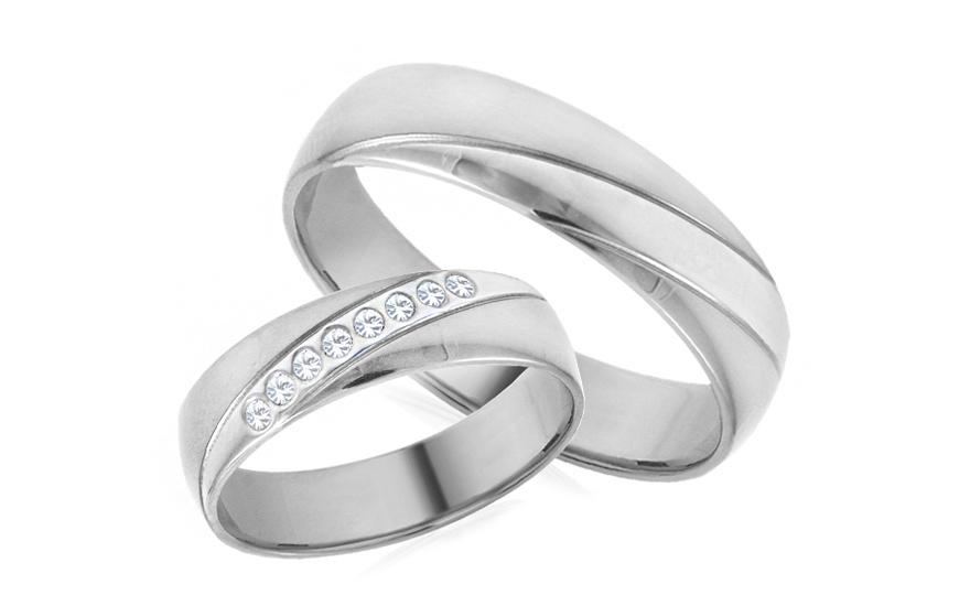 Snubní prstýnky se zirkony šířka 5 mm bílé IZOB684A