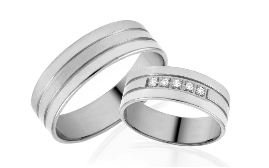 Snubní prstýnky bílé se zirkony šířka 6 mm bílé IZOB501A
