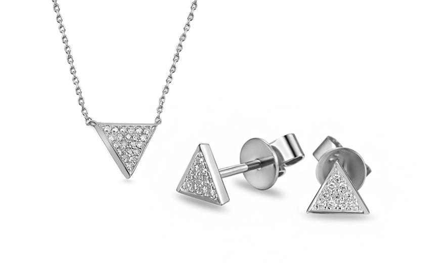 7a4f18ec9 Souprava z bílého zlata s diamanty 0,100 ct Triangle, pro ženy ...