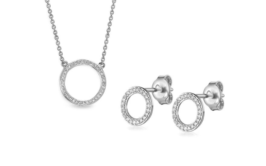 3b69bf9e0 Souprava z bílého zlata s diamanty 0,180 ct Fusain, pro ženy ...