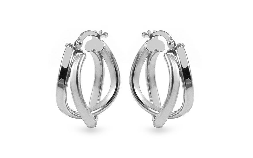 e2dbee9a6 Stříbrné náušnice asymetrické dvojité kroužky, pro ženy (IS2409 ...