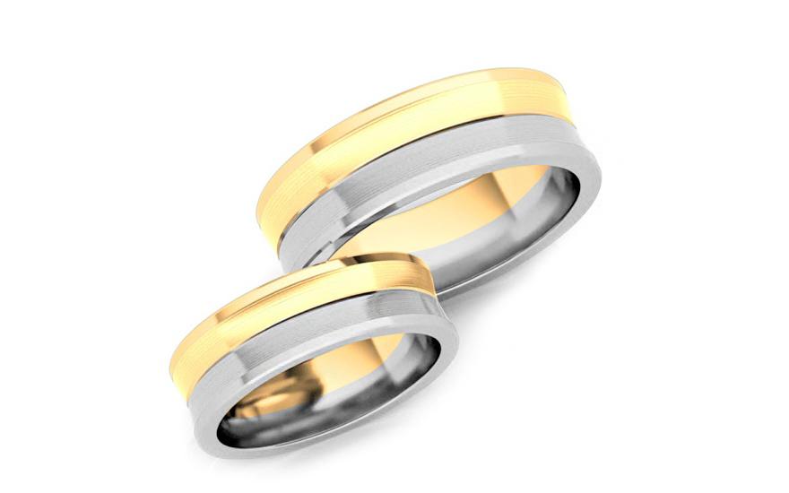 Svatební obroučky dvoubarevné zlato šířka 6 mm STOB169
