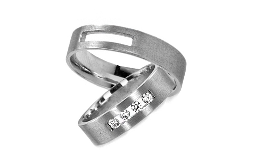 Snubní prstýnky s kamínky šířka 4 mm RYOB016