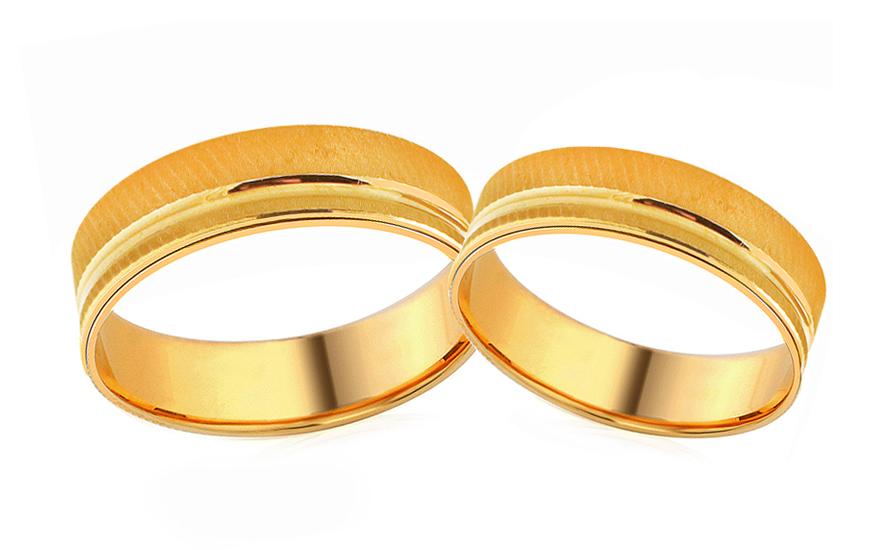 Snubní prstýnky žluté zlato šířka 5 mm RYOB219