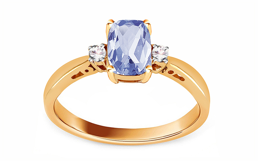 f50ab6b055f Tanzanitový zlatý prsten s diamanty 0,070 ct, pro ženy (KU1063 ...