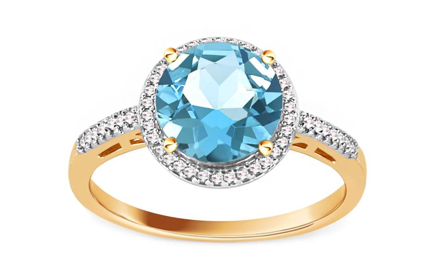 Topasový prsten s diamanty 0,090 ct Maricela KU606