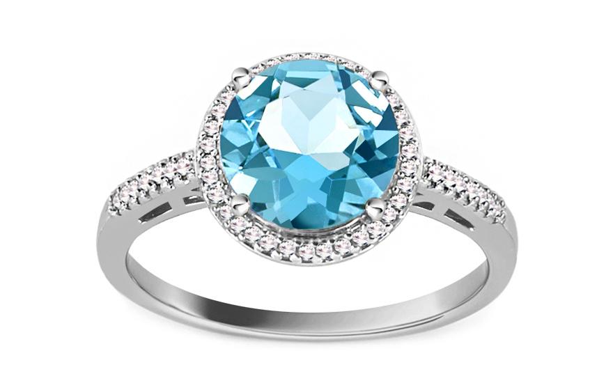 Topasový prsten s diamanty 0,090 ct Maricela white KU606A