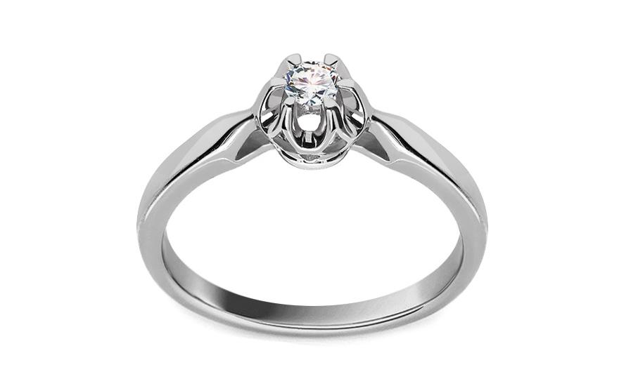 Zásnubní prsten s 0.090 ct briliantem Crown white CSBR07A
