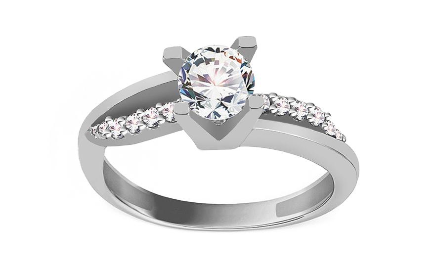 Zlatý zásnubní prsten Diamond pattern CSRI800A