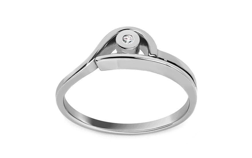 Zásnubní prsteň s briliantem 0.015 ct Engagement of love CSBR04A
