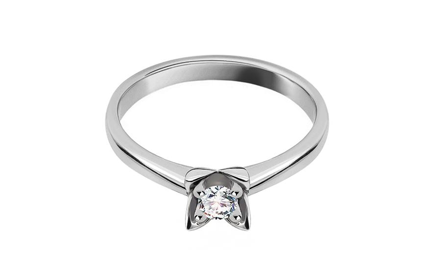 Zásnubní prsten s 0.110 ct briliantem Love flower white CSBR16A