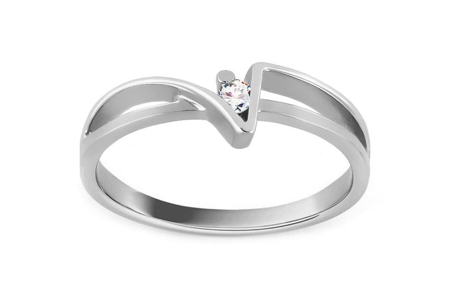 Zásnubní prsten Of love s briliantem 0,030 ct white CSBR01A