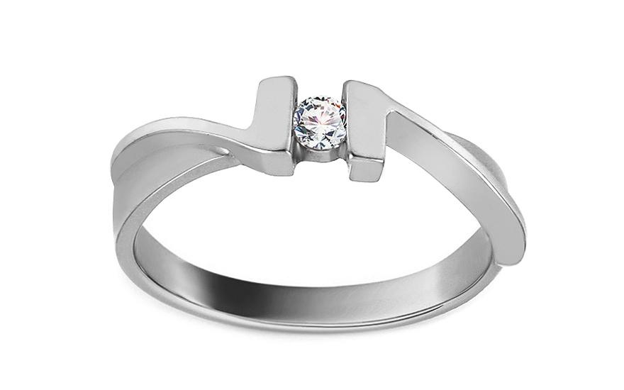 Zásnubní prsten s 0,080 ct diamantem Our Love white CSBR02A