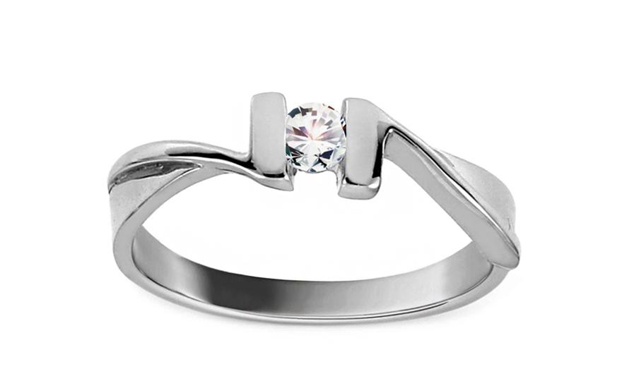 Zásnubní prsten Pretty 9 se zirkonem white CSRI1373A