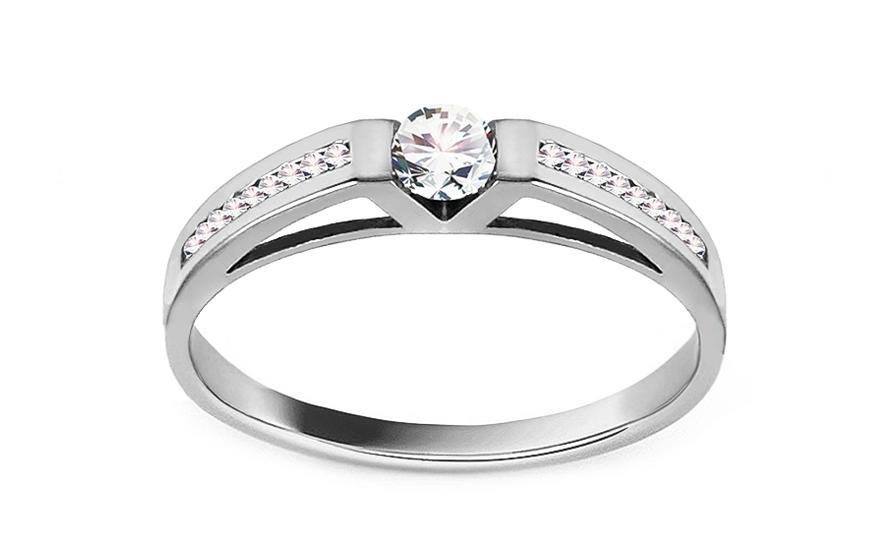 Zásnubní prsten s 19 zirkony Pretty 16 white CSRI2059A