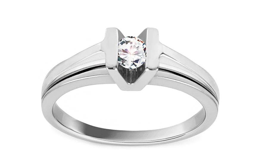 Zásnubní prsten s briliantem 0,140 ct Diamond for you white CSBR14A
